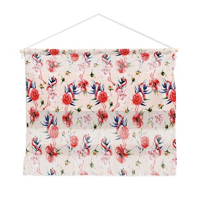 "22""x16"" Marta Barragan Camarasa Flowery American Flamingos Wall Hanging Landscape Tapestries Pink - Deny Designs"