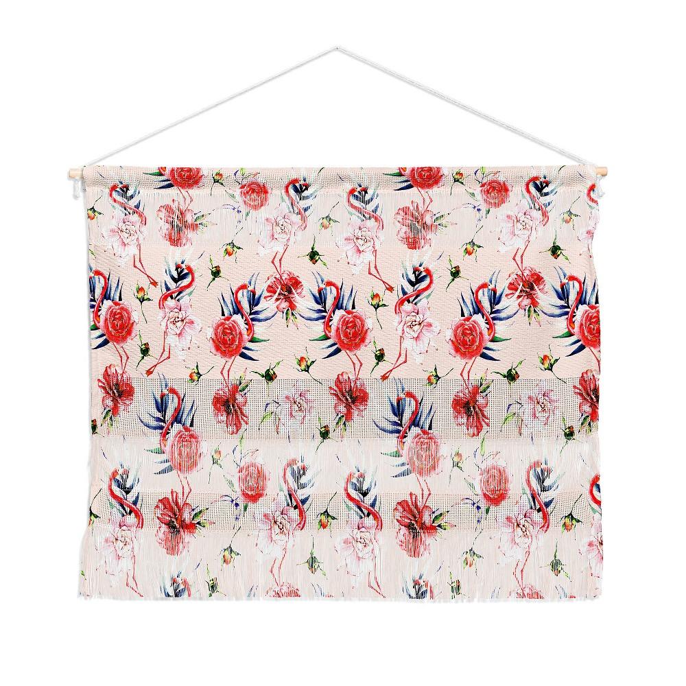 22x16 Marta Barragan Camarasa Flowery American Flamingos Wall Hanging Landscape Tapestries Pink - Deny Designs