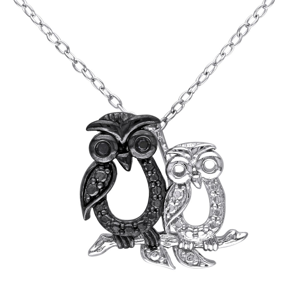 "Image of "".02 CT. T.W. Black Diamond Double Owl Pendant Necklace in Sterling Silver (18""""), Women's"""