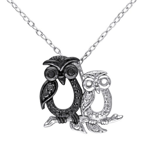 """.02 CT. T.W. Black Diamond Double Owl Pendant Necklace in Sterling Silver (18"""") - image 1 of 2"""