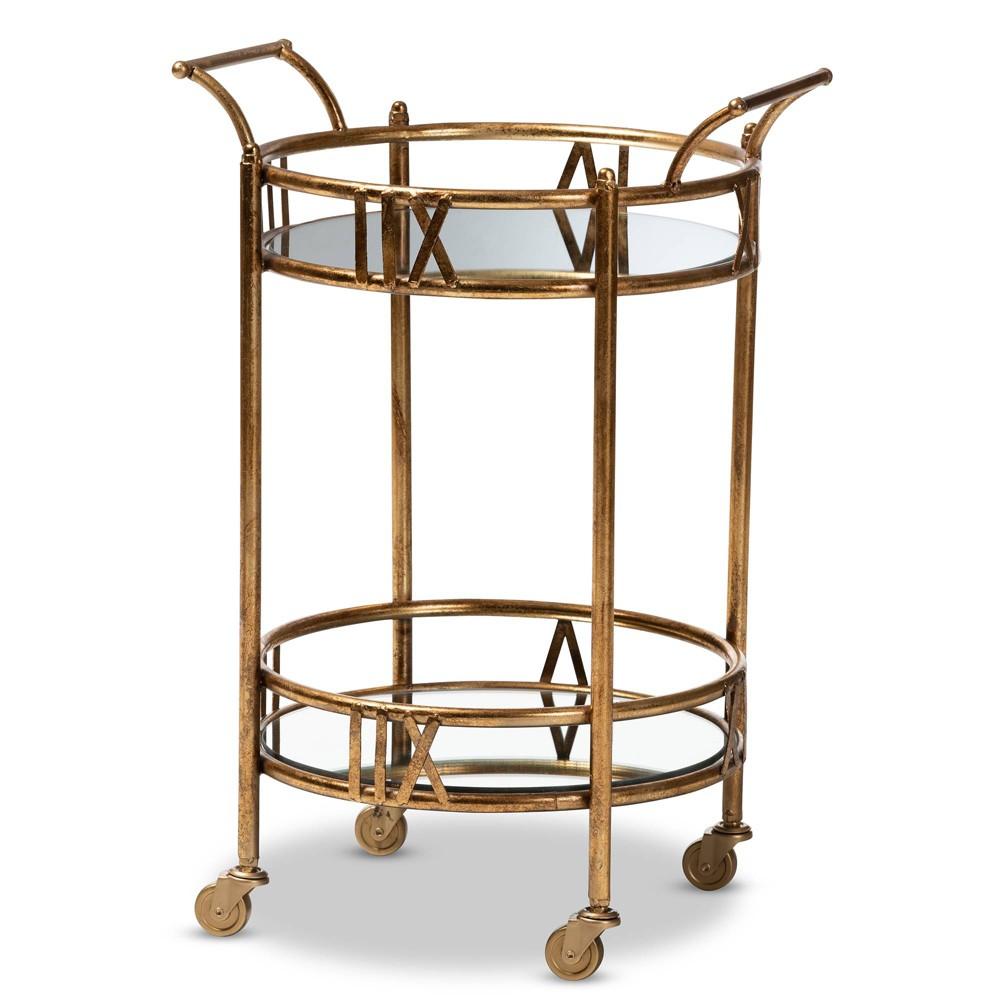 Bellamy Finished 2 Tier Mobile Bar Cart Gold - Baxton Studio