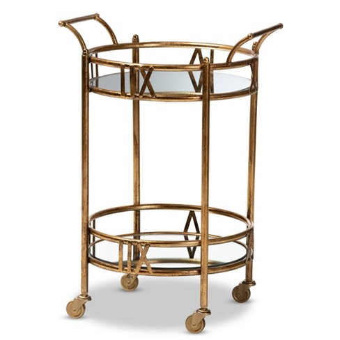 Bellamy Finished 2 Tier Mobile Bar Cart Gold - Baxton Studio - image 1 of 4