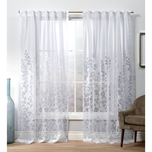 Wilshire Back Tab Sheer Window Curtain Panels White - Exclusive Home - image 1 of 4