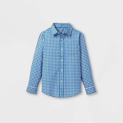 Boys' Woven Long Sleeve Button-Down Shirt - Cat & Jack™ Blue