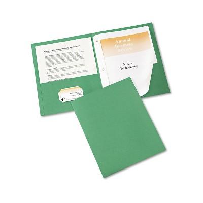 """Avery Two-Pocket Folder Prong Fastener Letter 1/2"""" Capacity Green 25/Box 47977"""