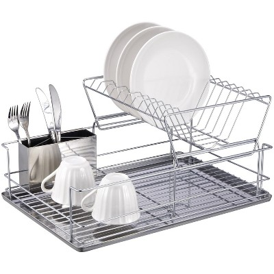 Home Basics 2-Tier 3 Piece Steel Dish Drainer