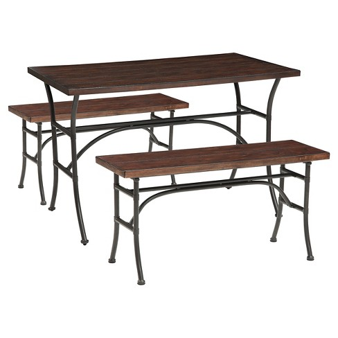 Amazing 3 Piece Dominago Bench Dining Set Walnut Acme Gmtry Best Dining Table And Chair Ideas Images Gmtryco
