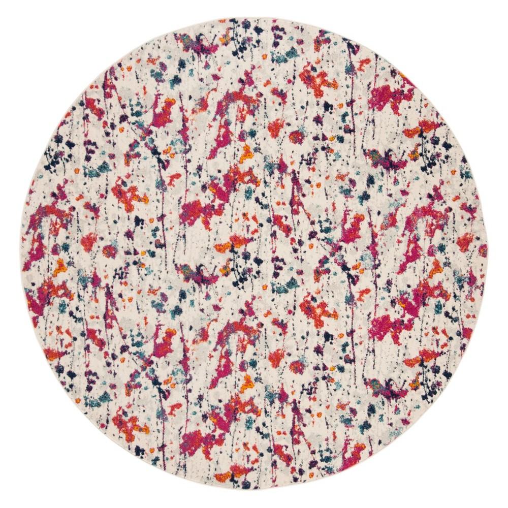 6'7 Splatter Loomed Round Area Rug Ivory/Red - Safavieh