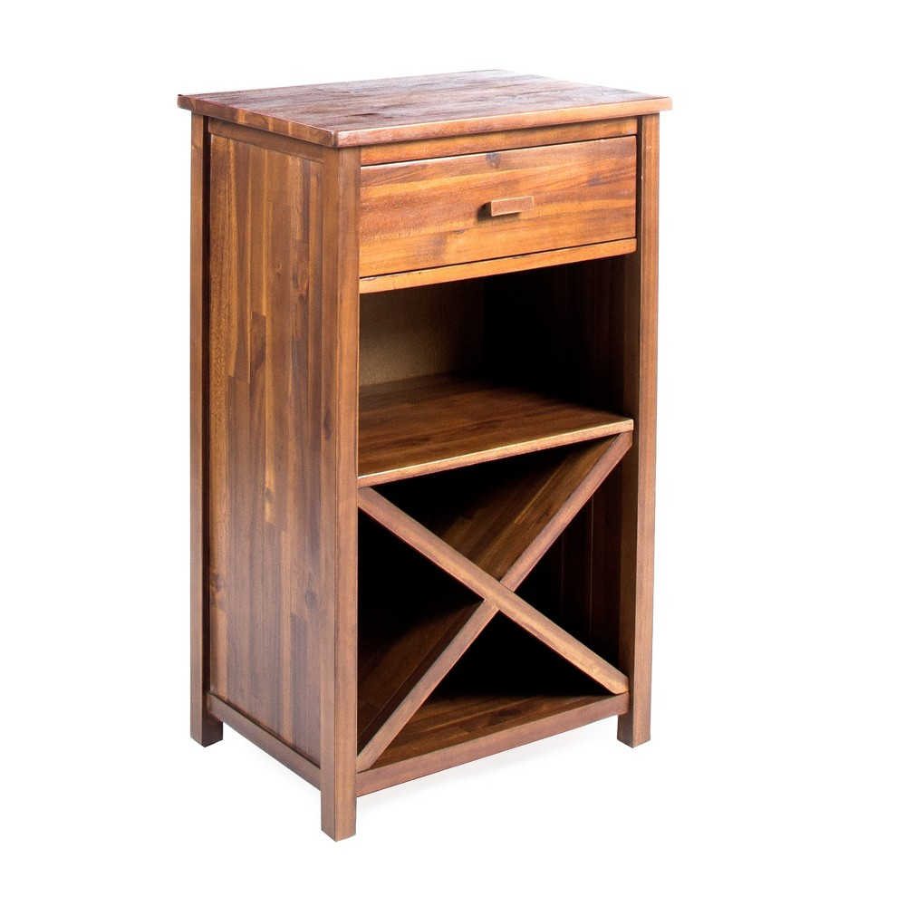 Clovis Farmhouse Wooden Bar Cabinet Dark Oak Brown - Christopher Knight Home