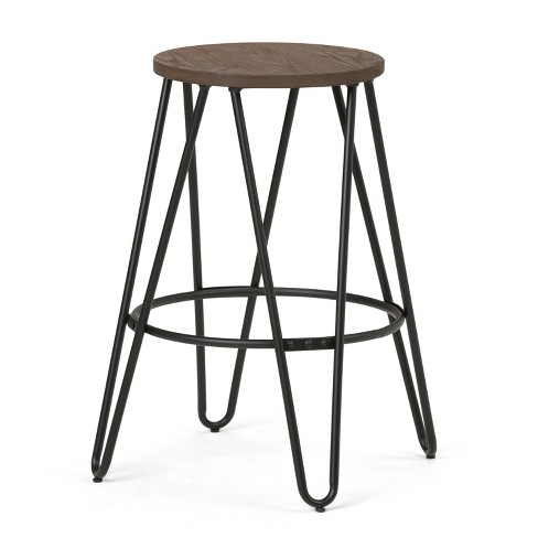 "Kendall 24"" Metal Counter Height Stool with Wood Black/Cocoa Brown - Wyndenhall - image 1 of 7"