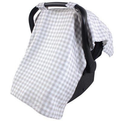 Hudson Baby Infant Unisex Reversible Car Seat and Stroller Canopy, Gray Gingham, One Size