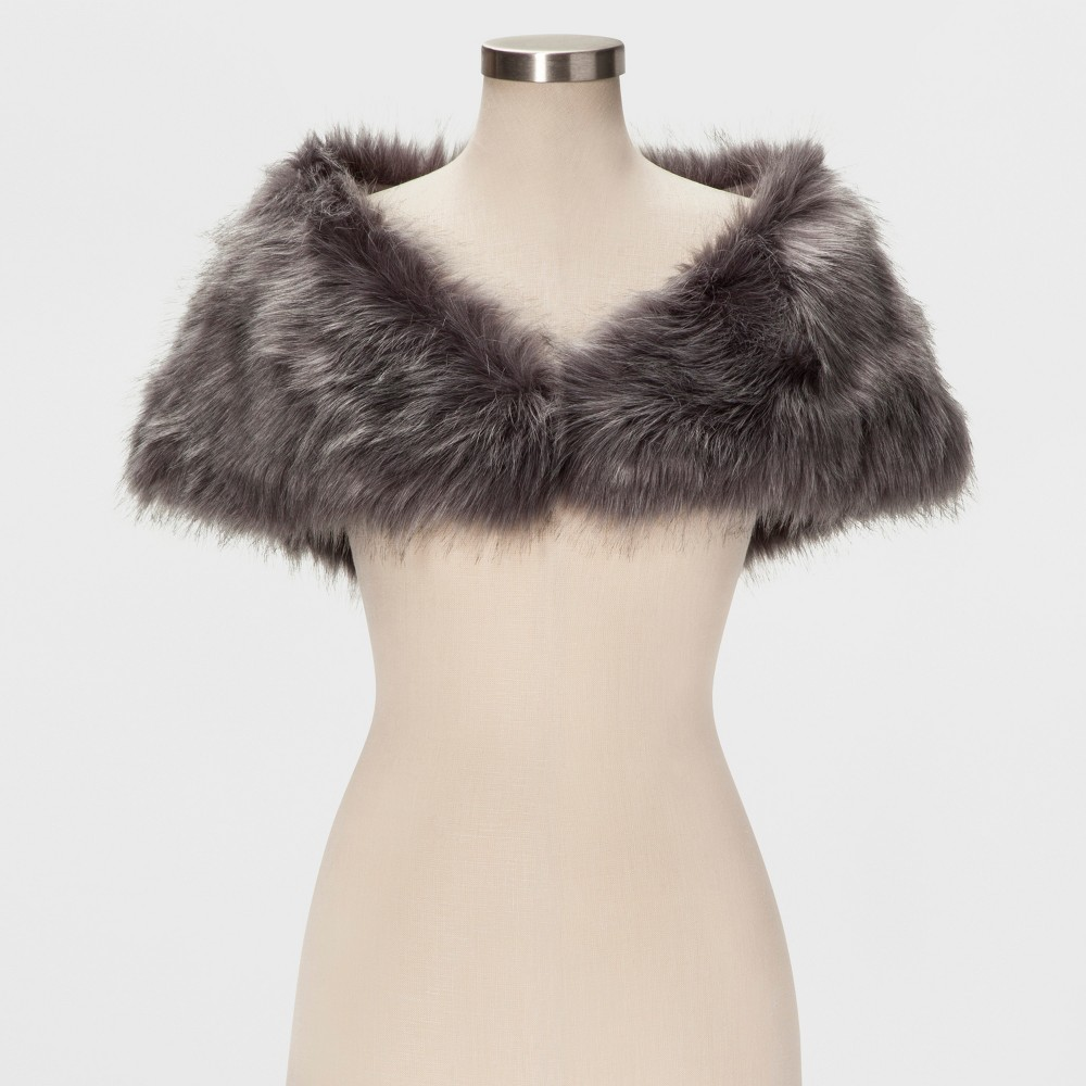 Women's Faux Fur Shrug - Estee & Lilly Gray XS