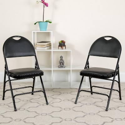 Flash Furniture 2 Pack HERCULES Series Extra Large Ultra-Premium Triple Braced Metal Folding Chair with Easy-Carry Handle