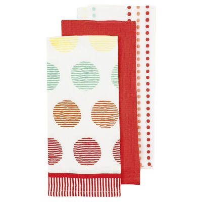 Arial Coral Kitchen Towel (3 Pack)- Ladelle
