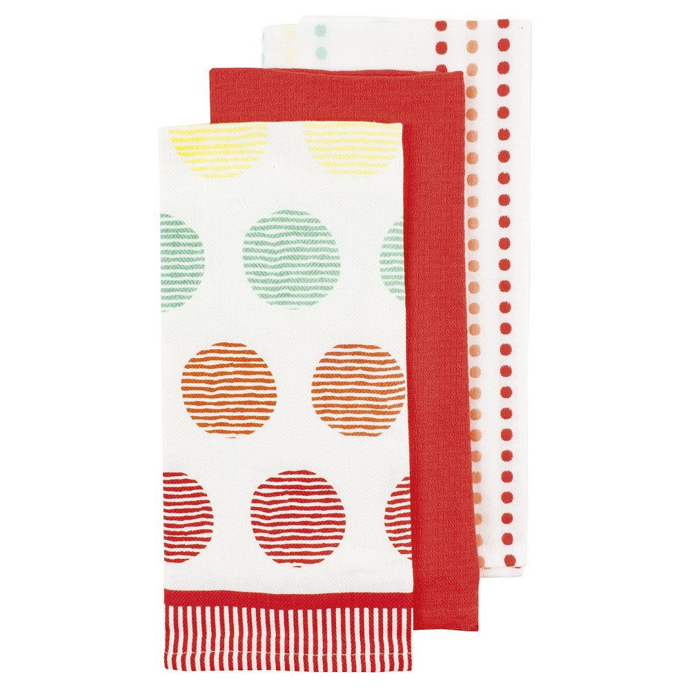 Arial Coral (Pink) Kitchen Towel (3 Pack) - Ladelle
