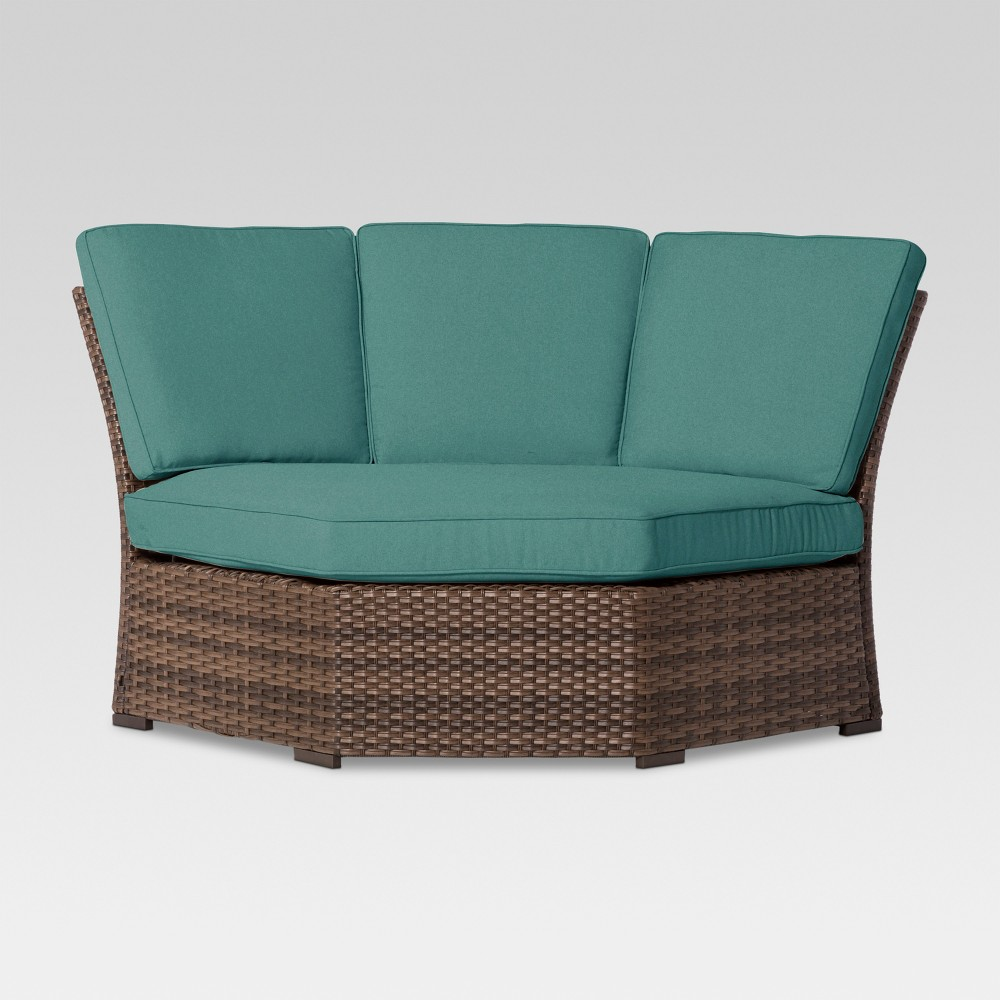 Halsted Wicker Patio Half-Round Corner Sectional Seat - Turquoise - Threshold