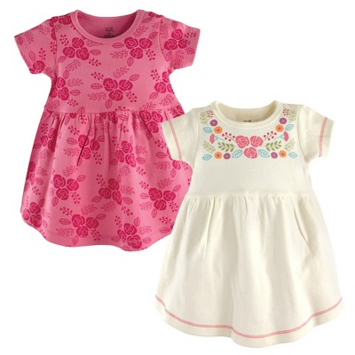 Touched by Nature Baby and Toddler Girl Organic Cotton Short-Sleeve Dresses 2pk, Boho Flower