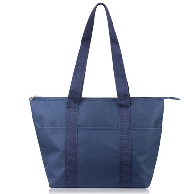 Zodaca Large Reusable Insulated Zip Lunch Bag Cooler Picnic Travel Food Box Women Tote Carry Storage Bags - Solid Navy
