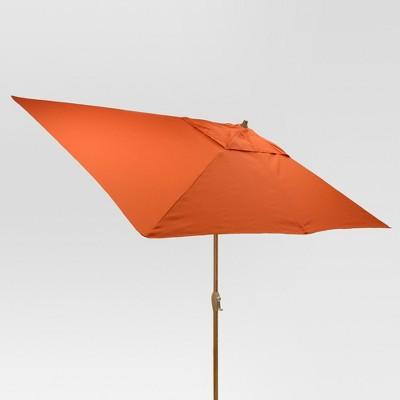 10' x 6' Rectangular Umbrella - Coral - Medium Wood Finish - Threshold™