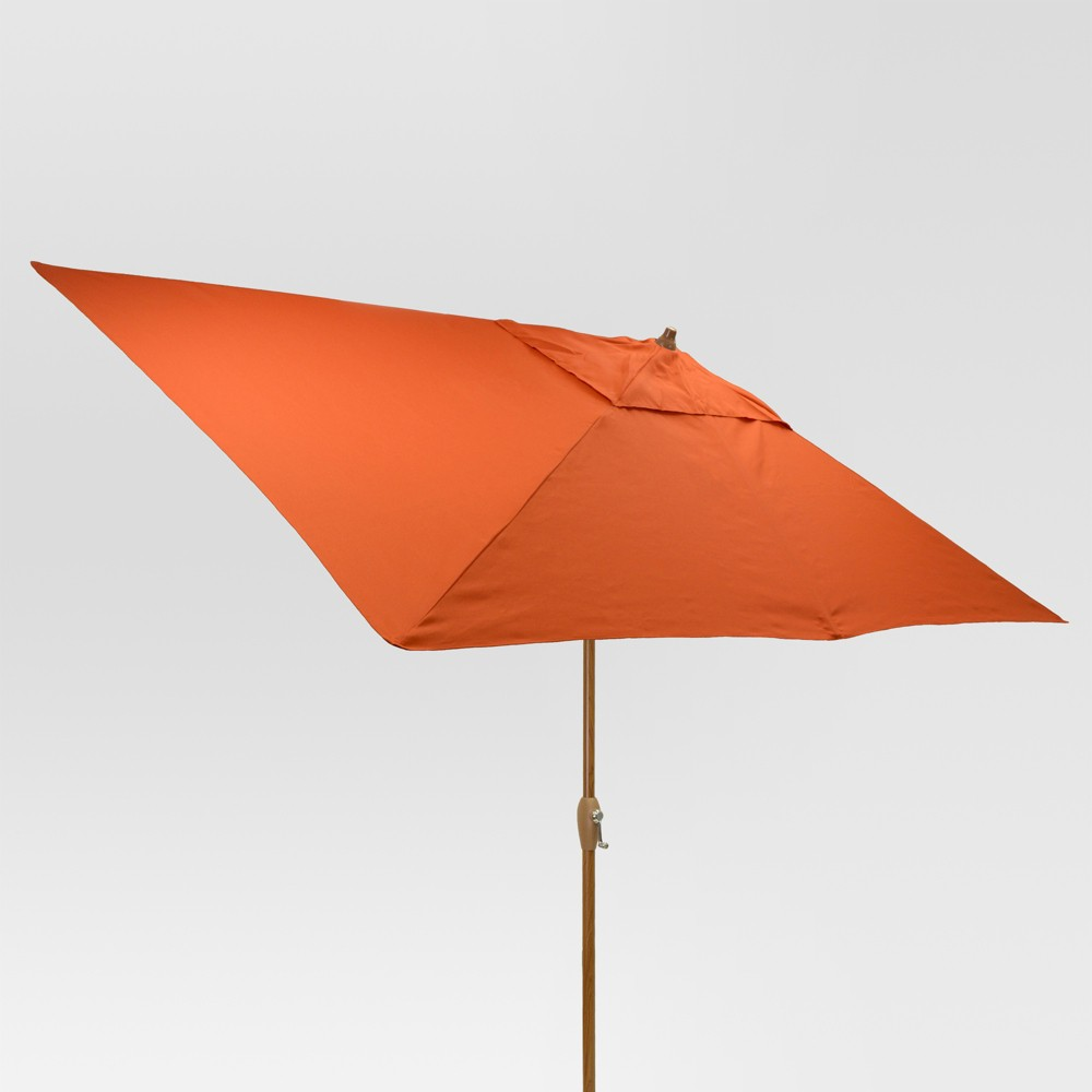 6.5' x 10' Rectangle Umbrella - Coral (Pink) - Medium Wood Finish - Threshold