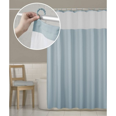 Smart Shower Curtains Hendrix View Fabric With Attached Hooks Blue - Maytex