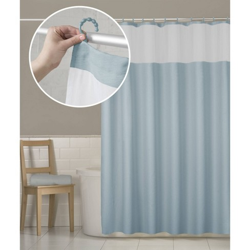Smart Shower Curtains Hendrix View Fabric With Attached Hooks - Zenna Home - image 1 of 4