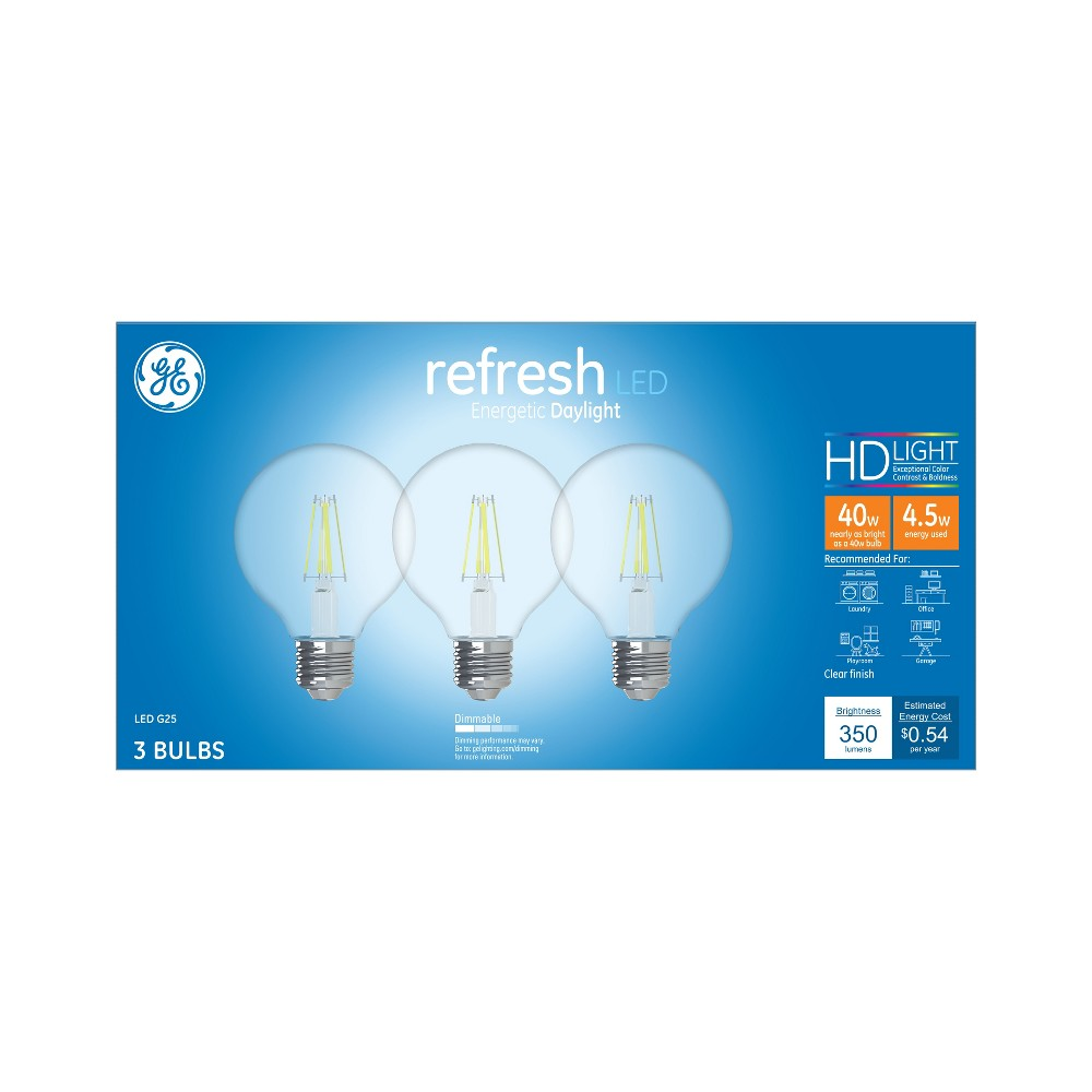 Ca Refresh Light Bulb Led Dl G25 40W Clear 3pk