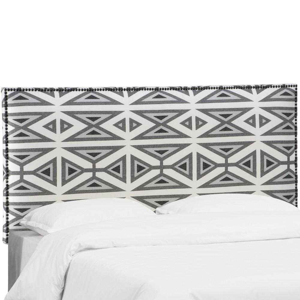 Twin Bella Nail Button Border Headboard Geometric Gray Skyline Furniture