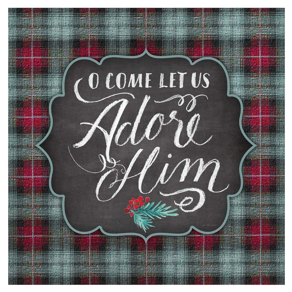 Image of Thirstystone Rustic Christmas Coasters Set of 4 - Let us Adore, Multi-Colored