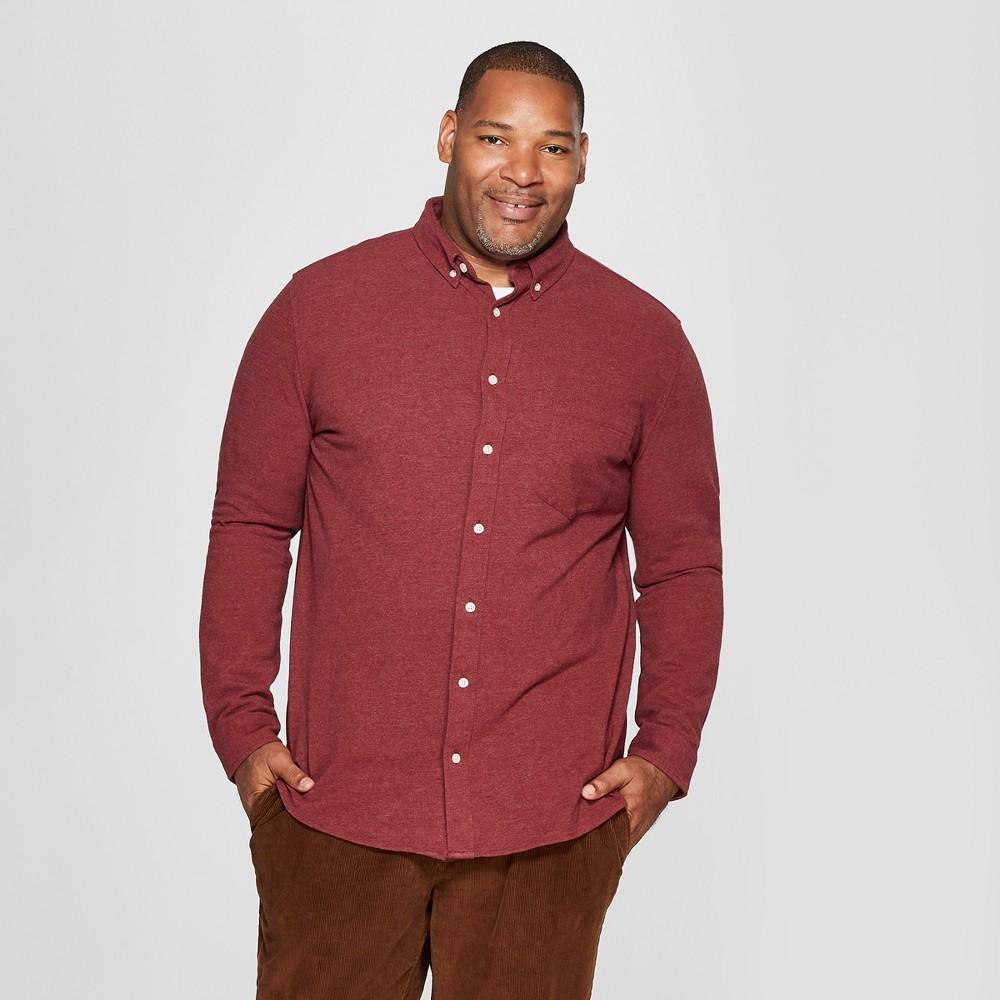 Men's Big & Tall Long Sleeve Knit Button-Down Shirt - Goodfellow & Co Berry Cobbler 5XBT