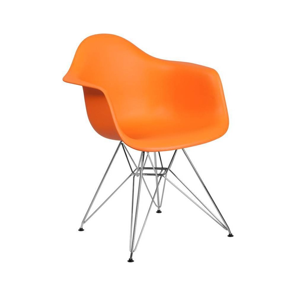 Image of Alonza Series Plastic Chair with Arms and Chrome Base Orange - Riverstone Furniture Collection