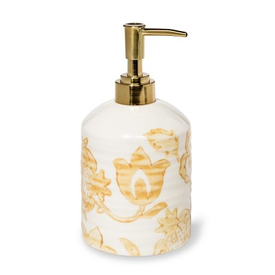 Floral Ceramic Soap Dispenser Yellow - Threshold™