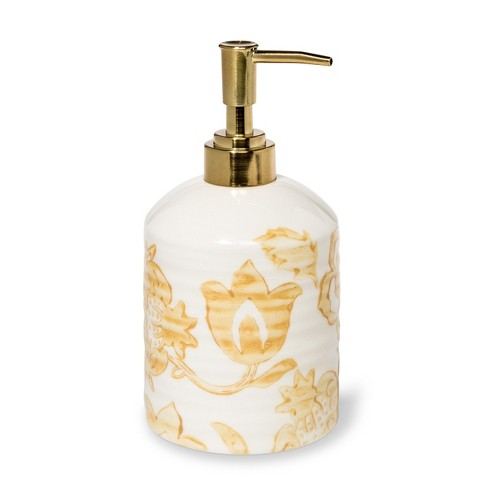 Floral Ceramic Soap Dispenser Yellow - Threshold™ - image 1 of 1