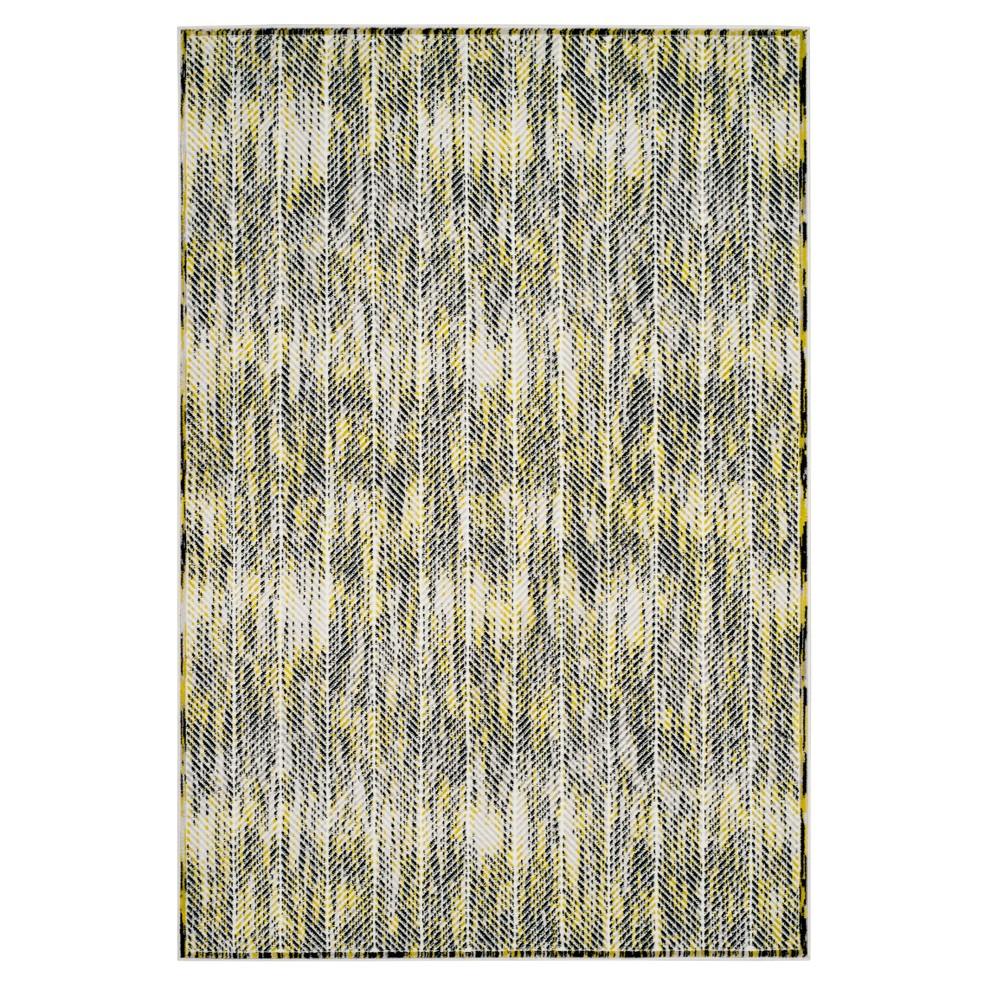 Gray/Green Herringbone Loomed Area Rug 5'1