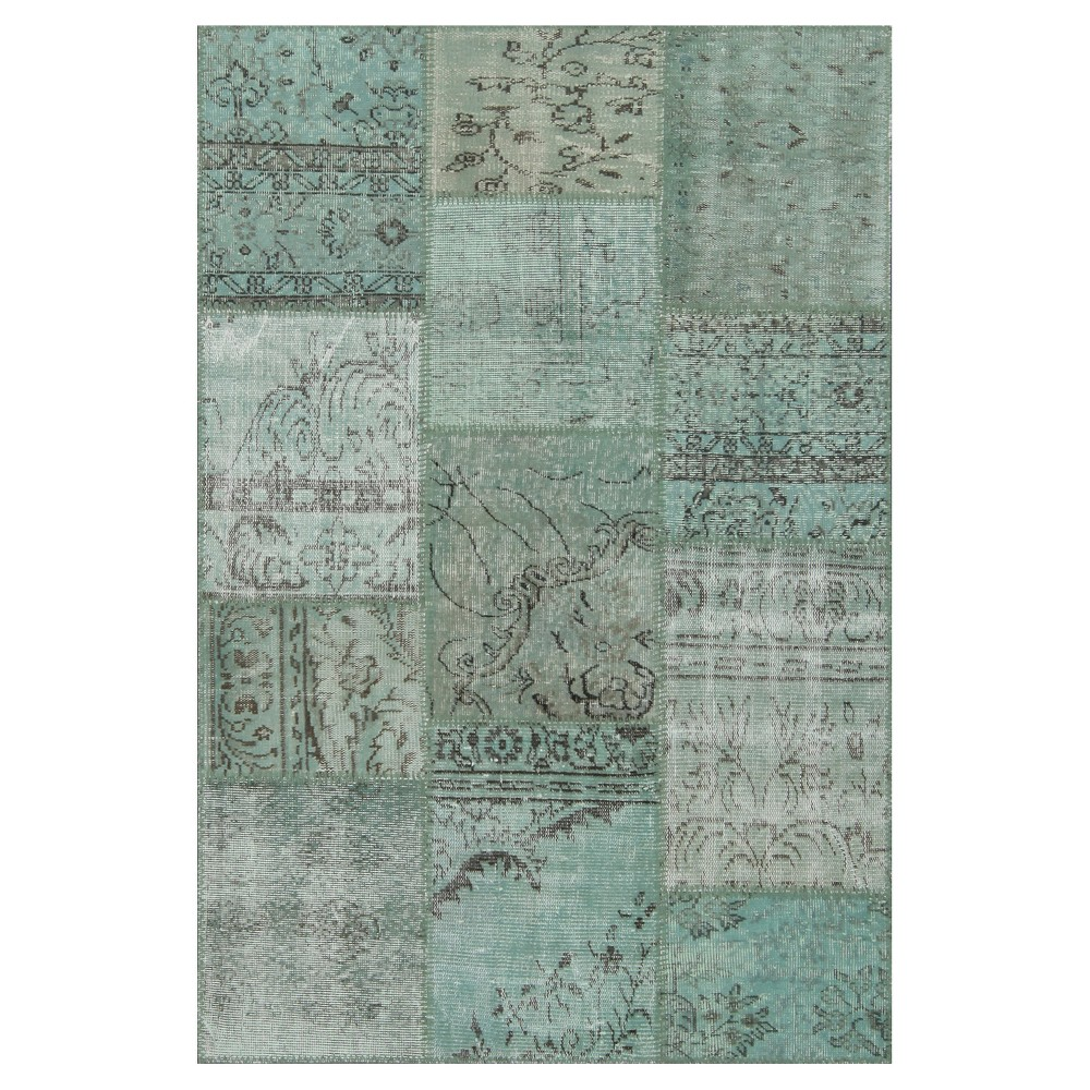 "Image of ""Antique Patchwork Accent Rug Green 3'11""""x5'11"""", Pale Green"""