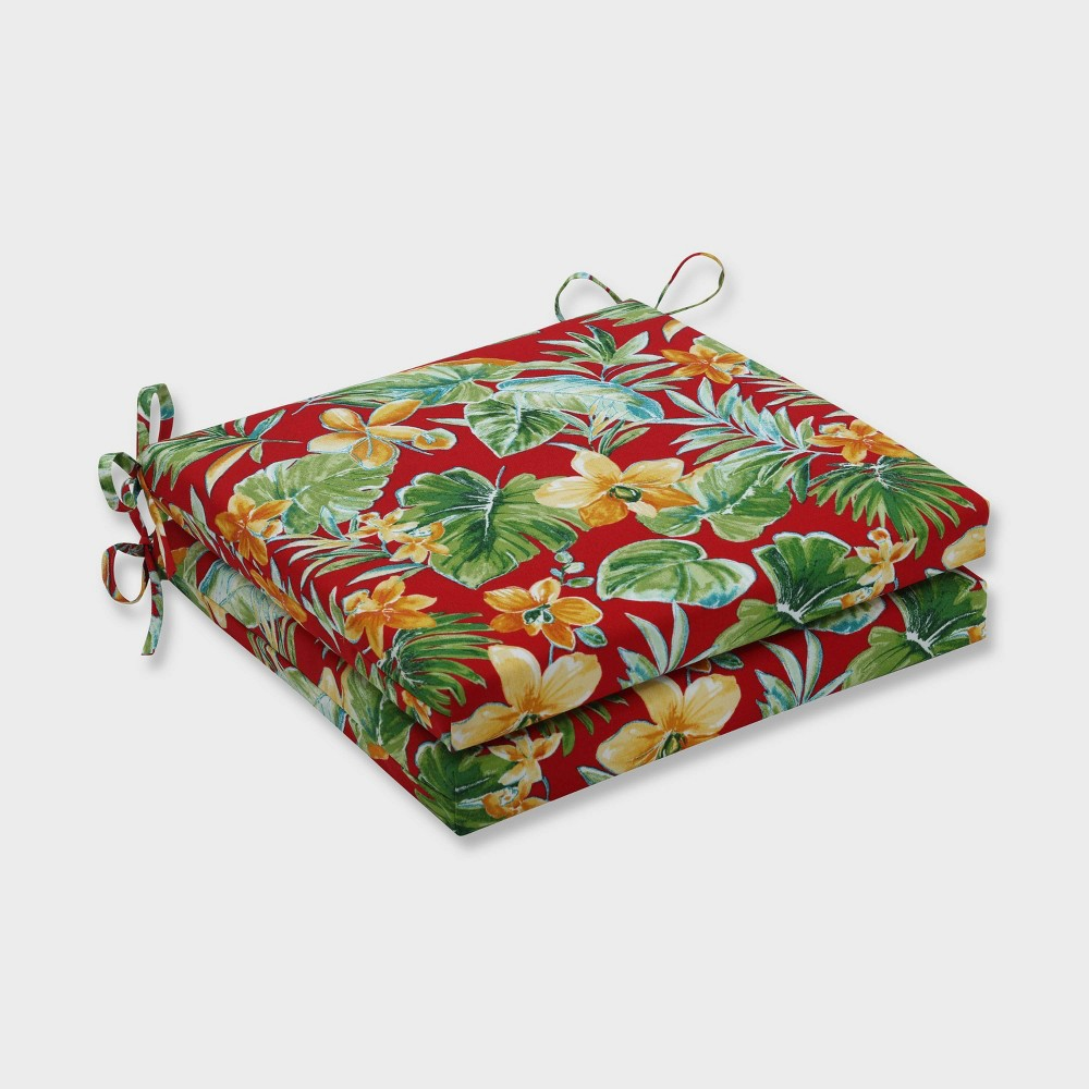 """Image of """"20"""""""" x 20"""""""" x 3"""""""" 2pk Beachcrest Poppy Squared Corners Outdoor Seat Cushions Red - Pillow Perfect"""""""