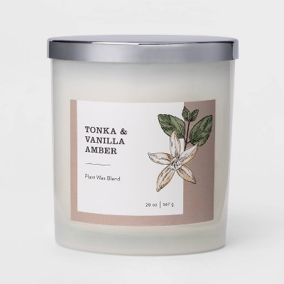 20oz Milky Glass Jar 3-Wick Candle Tonka & Vanilla Amber - Threshold™