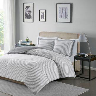 Gray Braydon Reversible Stripe Comforter Mini Set Full/Queen
