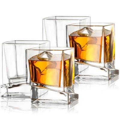 JoyJolt Carre Square Scotch Glasses - Set of 4 Whiskey Glass - 10-Oz
