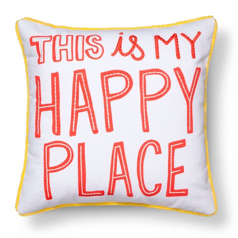 """Happy Place Throw Pillow - 17""""x17"""" - Pillowfort™ - image 1 of 4"""