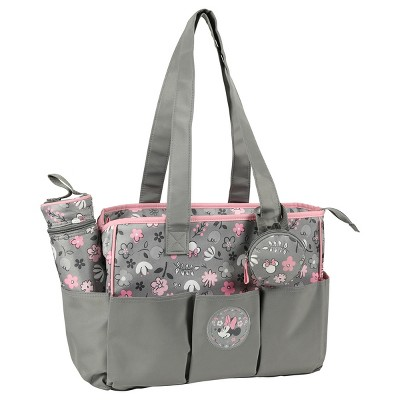 Disney Minnie Mouse Diaper Bag 3pc - Gray Floral