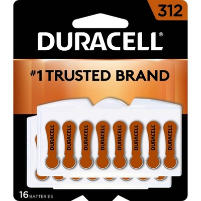 Duracell Size 312 Hearing Aid Batteries - 16 Pack - Easy-Fit Tab