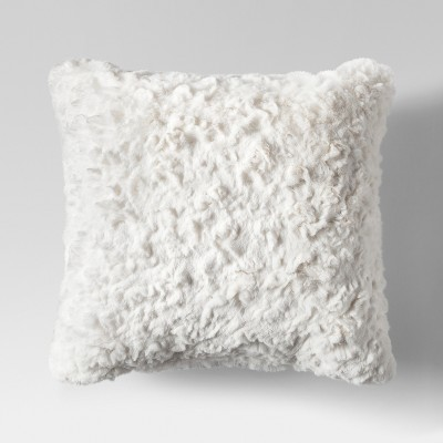 Cream Faux Fur Square Throw Pillow - Project 62™