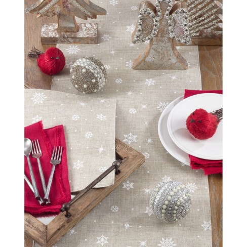 Christmas Table Runner.70 X16 Poly And Linen Christmas Table Runner With Snowflake Design Natural Saro Lifestyle