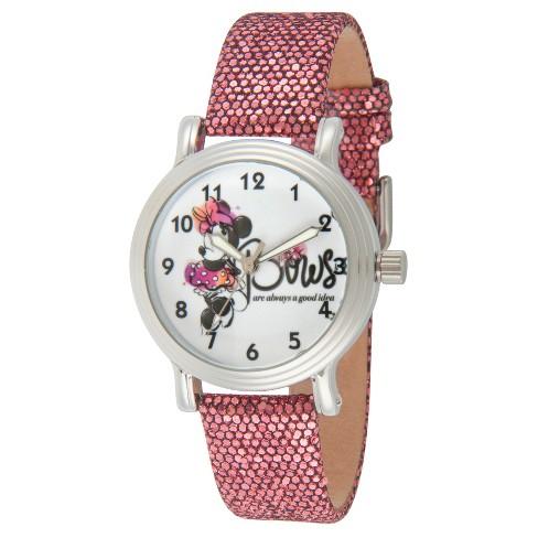 42d81e54622b Women s Disney Minnie Mouse Silver Vintage Alloy Watch - Purple   Target