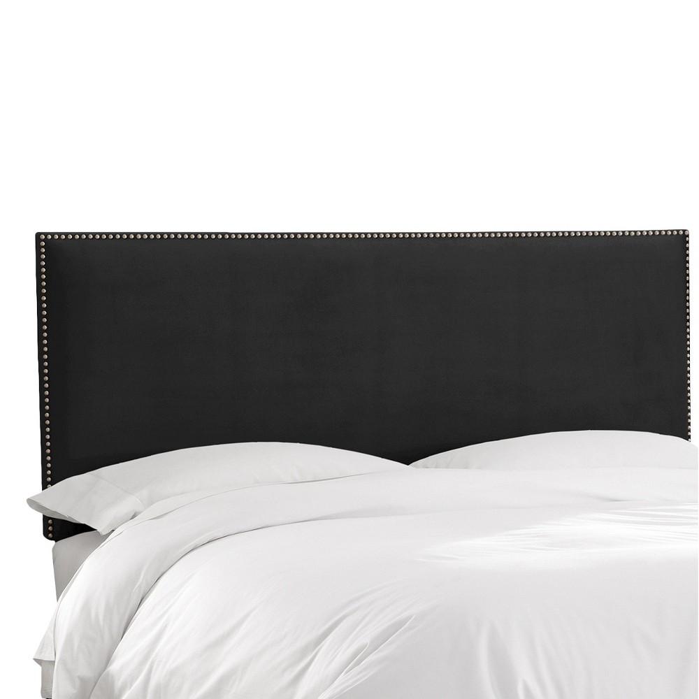 California King Arcadia Nailbutton Headboard Velvet Black - Skyline Furniture