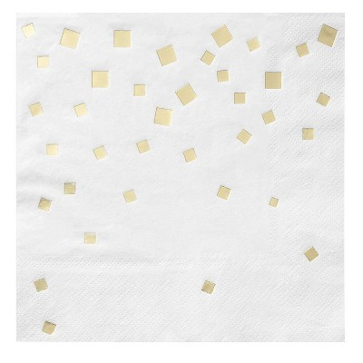 Juvale 50-Pack Gold Foil Confetti Disposable Paper Napkins Party Supplies 6.5 x 6.5 In