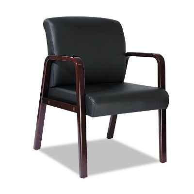 Alera Reception Lounge Series Guest Chair, Mahogany/Black Leather RL4319M