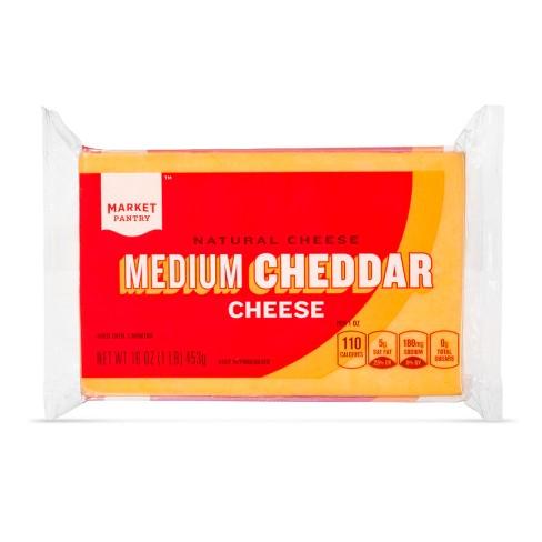 Natural Medium Cheddar Cheese - 16oz - Market Pantry™ - image 1 of 1