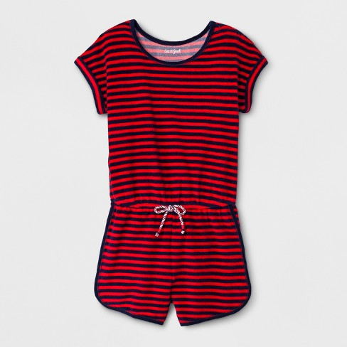 Girls' Short Sleeve Americana Stripes Knit Romper - Cat & Jack™ Red/Blue - image 1 of 2